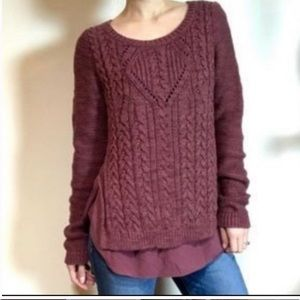 """Moth Anthropologie XS Mauve """"Ella"""" Cable Knit Sweater"""